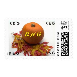 Monogram Autumn Wedding Theme Invitation Postage