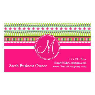 Monogram Aztec Andes Trial Mountains Diamonds Double-Sided Standard Business Cards (Pack Of 100)