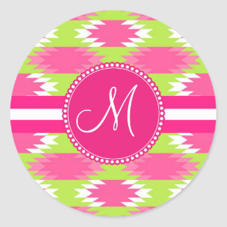 Monogram Aztec Andes Tribal Hot Pink Lime Green Classic Round Sticker