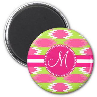 Monogram Aztec Andes Tribal Hot Pink Lime Green Magnet