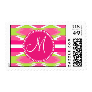 Monogram Aztec Andes Tribal Hot Pink Lime Green Postage