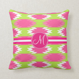 Monogram Aztec Andes Tribal Hot Pink Lime Green Throw Pillow