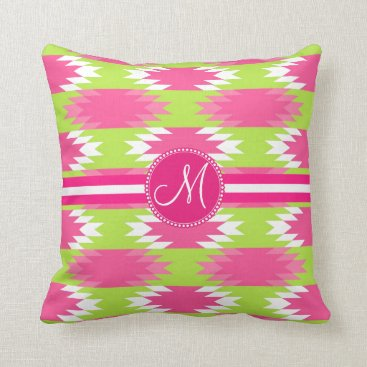 Aztec Themed Monogram Aztec Andes Tribal Hot Pink Lime Green Throw Pillow