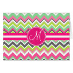 Monogram Aztec Andes Tribal Mountains Chevron Greeting Card