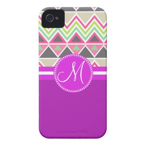 Monogram Aztec Andes Tribal Mountains Chevron Case-Mate iPhone 4 Case