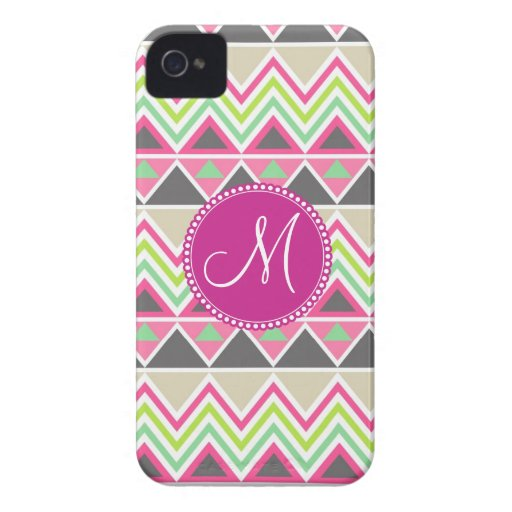 Monogram Aztec Andes Tribal Mountains Chevron Blackberry Bold Cover