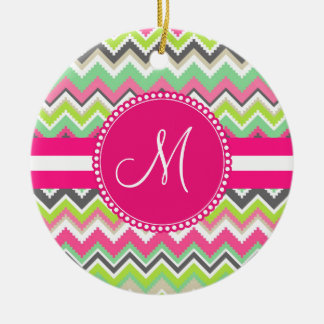 Monogram Aztec Andes Tribal Mountains Chevron Ceramic Ornament