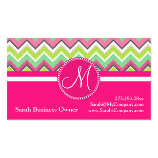Monogram Aztec Andes Tribal Mountains Chevron Double-Sided Standard Business Cards (Pack Of 100)