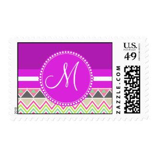 Monogram Aztec Andes Tribal Mountains Chevron Postage