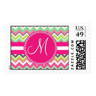 Monogram Aztec Andes Tribal Mountains Chevron Postage Stamps
