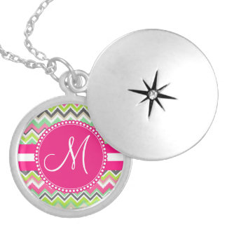 Monogram Aztec Andes Tribal Mountains Chevron Silver Plated Necklace