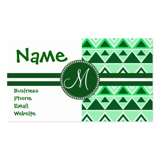 Monogram Aztec Andes Tribal Mountains Triangles Business Card Template