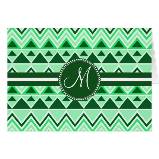 Monogram Aztec Andes Tribal Mountains Triangles Greeting Card