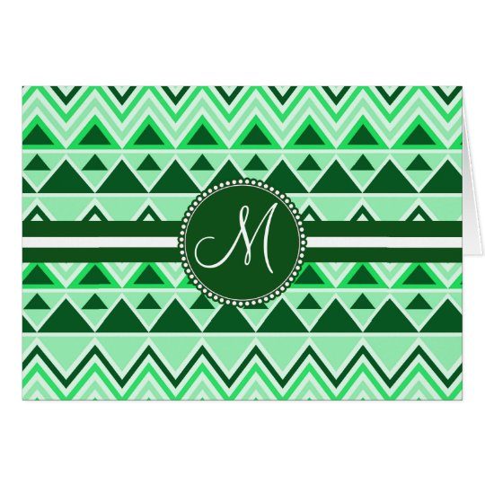 Monogram Aztec Andes Tribal Mountains Triangles Card