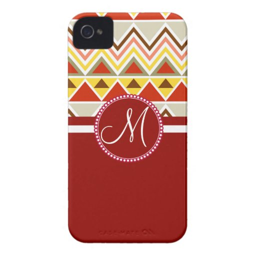 Monogram Aztec Andes Tribal Mountains Triangles iPhone 4 Case-Mate Case
