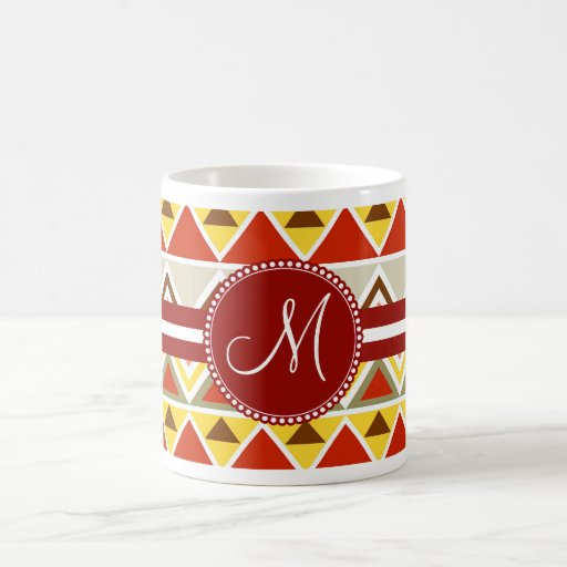 Monogram Aztec Andes Tribal Mountains Triangles Coffee Mugs
