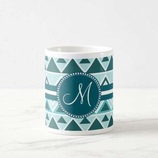Monogram Aztec Andes Tribal Mountains Triangles Coffee Mug