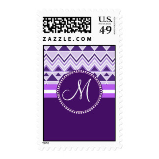 Monogram Aztec Andes Tribal Mountains Triangles Postage