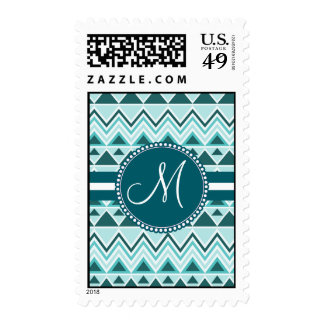 Monogram Aztec Andes Tribal Mountains Triangles Stamps