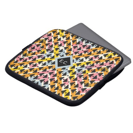 Monogram aztec paperchain pink blue yellow black computer sleeve
