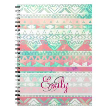 Aztec Themed Monogram Aztec Pattern Pink Turquoise Watercolor Notebook