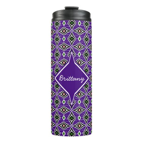 Monogram aztec tribal purple green diamond design thermal tumbler
