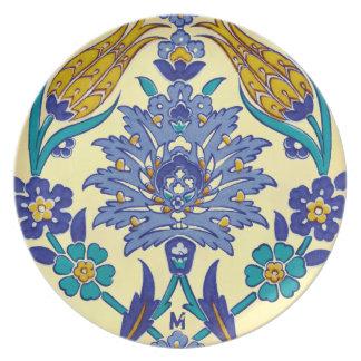 Monogram Azulejo Ceramic Style Vintage Ornament Melamine Plate