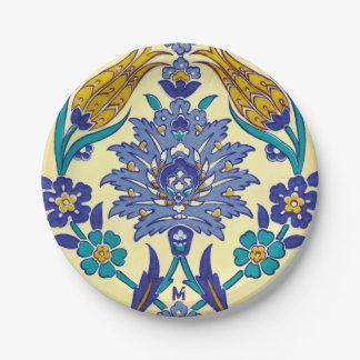 Monogram Azulejo Ceramic Style Vintage Ornament Paper Plate
