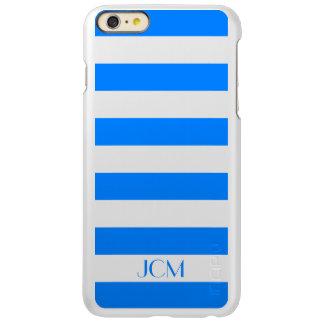 Monogram Azure Blue Horizontal Stripe Incipio Feather® Shine iPhone 6 Plus Case