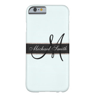 Monogram Azure mist Color Background Barely There iPhone 6 Case