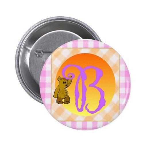 Monogram B Bear 2 Inch Round Button