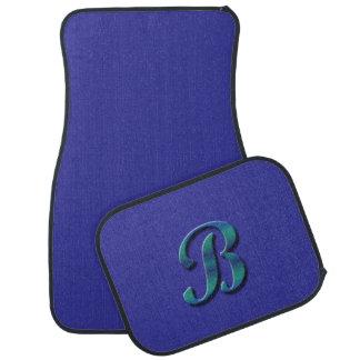 Monogram B blue green Car Mat
