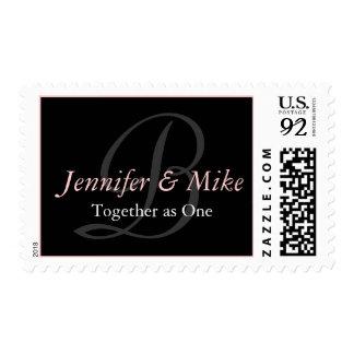 Monogram B Bride Groom Wedding Saying Pink Stamp