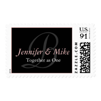 Monogram B Bride Groom Wedding Saying Pink Stamp