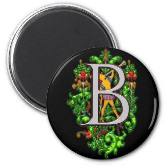 monogram B bugler royal floral art Print 2 Inch Round Magnet