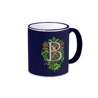 monogram B bugler royal floral art Print Ringer Mug