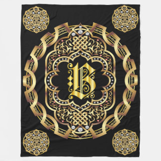 Monogram B CUSTOMIZE To Change Background Color Fleece Blanket