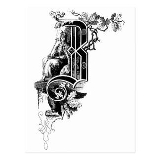 Monogram B Eagle, Oak Leaf & Man Postcard