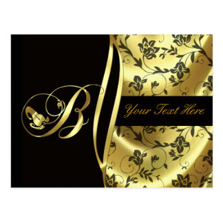 Monogram B Elegant Gold and Black Postcard