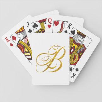 Monogram B Faux Gold Foil Metallic Letter Design Card Deck