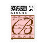 Monogram B Love Stamp Blush Pink & Brown