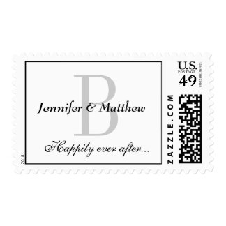 Monogram B Postage for Weddings Happily Ever After