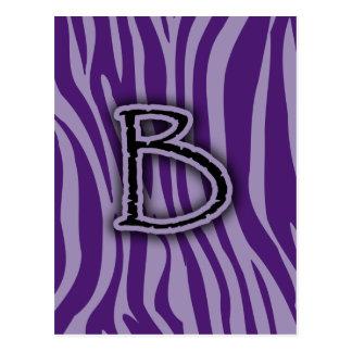 Monogram B Purple Zebra Stripes Postcard