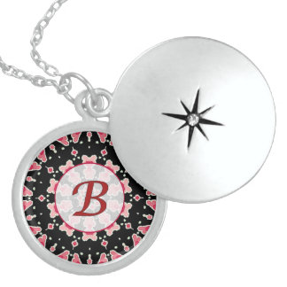 Monogram B Red Pink Hearts Sterling Silver Locket