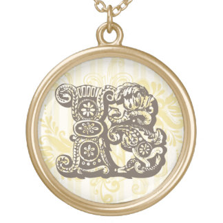 Monogram B Round Pendant Necklace