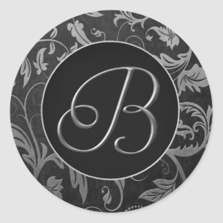 Monogram B Silver and Black Damask Wedding Seal Classic Round Sticker