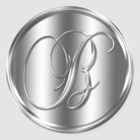 Monogram B Silver Color Wedding Invitation Holiday Classic Round Sticker