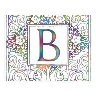 Monogram B- Soft Colors Postcard