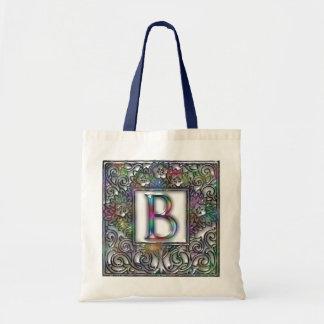 Monogram B- Stained Glass Tote Bag