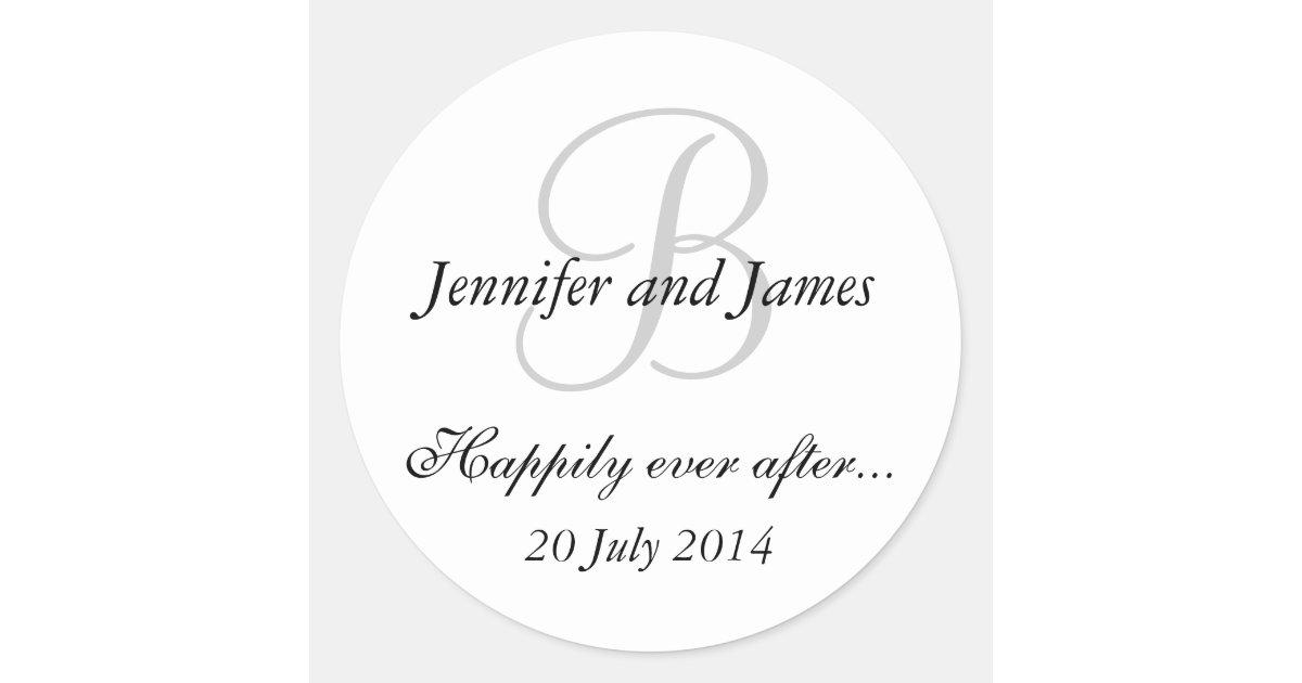 Monogram B Stickers For Wedding Favours Zazzle